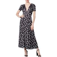 Betsey Johnson Womens Maxi Dress Satin Bow Print