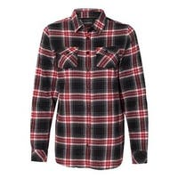 Women's Yarn-Dyed Long Sleeve Flannel Shirt - Red - S