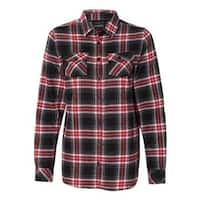 Women's Yarn-Dyed Long Sleeve Flannel Shirt - Red - XL