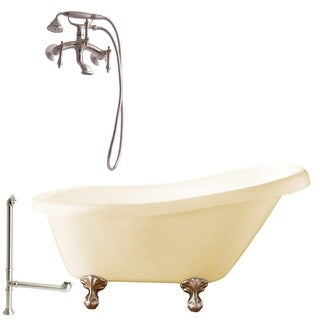 """Giagni LH1 Hawthorne 60"""" Free Standing Soaking Tub Package - Includes Tub, Tub Feet, Wall Mounted Tub Filler Faucet, and Drain"""