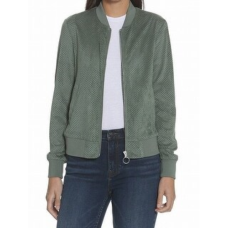 Vigoss Womens Small Faux-Suede Perforated Bomber Jacket