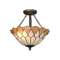 "14.25"" Antique Bronze Scalloped Jeweled Hand Crafted Glass Flush Mount Ceiling Light Fixture"