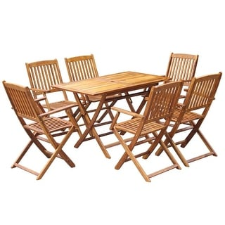 Link to vidaXL Outdoor Dining Set 7 Piece Solid Eucalyptus Wood Garden Patio Furniture Similar Items in Patio Furniture