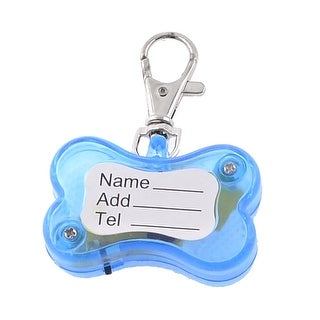 Unique Bargains Red LED Night Safety Flash Light Pet Cat Dog Collar Charm Name ID Tag Blue