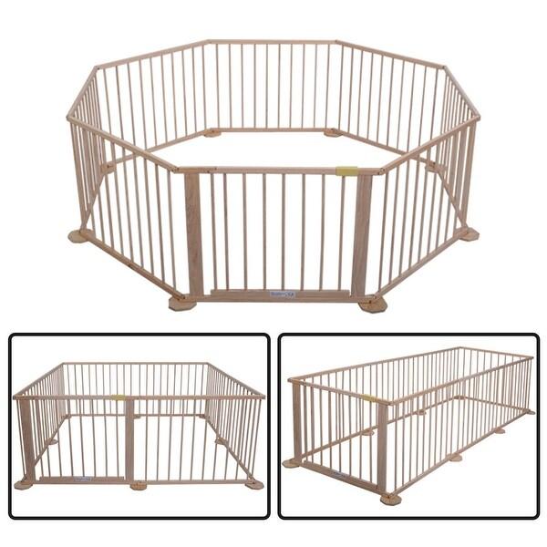 Costway Baby Playpen 8 Panel Wooden Frame Kids Play Center Yard Indoor&Outdoor