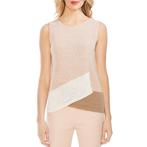 Vince Camuto Womens Beige Size Medium M Colorblock Tulip Sweater Vest