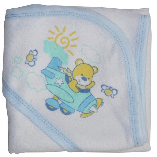 Hooded Towel with Blue Binding and Screen Prints - Size - One Size - Boy