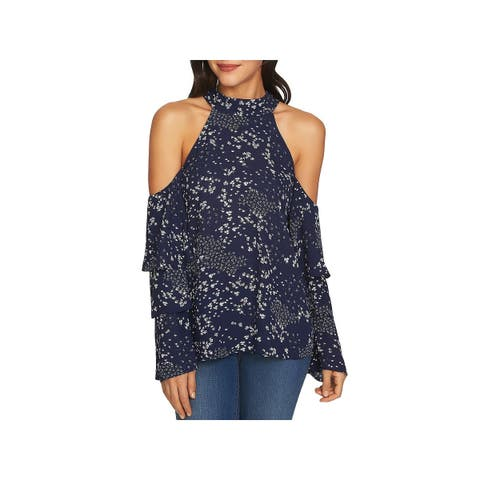1.State Womens Blouse Tiered Cold Shoulder