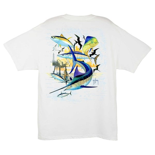 Guy Harvey Mens Oil Rig Collage Shirt