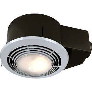 NuTone 9093WH 70 CFM 3.5 Sone Ceiling Mounted HVI Certified Bath Fan with Light, Heater and Night Light