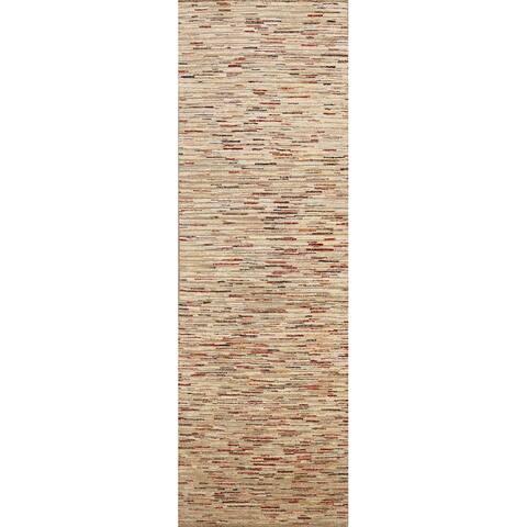 "Contemporary Oriental Gabbeh Kashkoli Hallway Runner Rug Wool Handmade - 2'6"" x 8'1"""