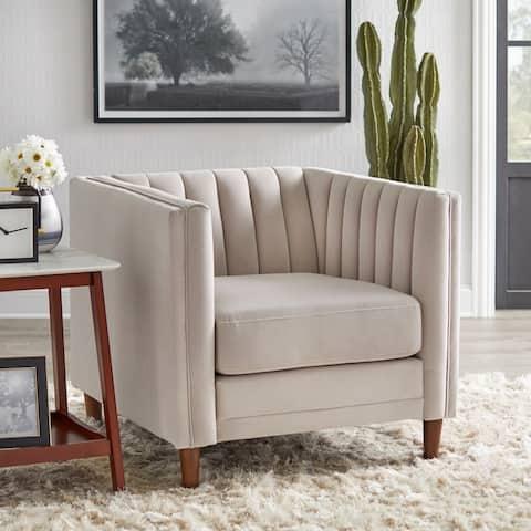 Lifestorey Paxton Channel Stitch Tuxedo Chair