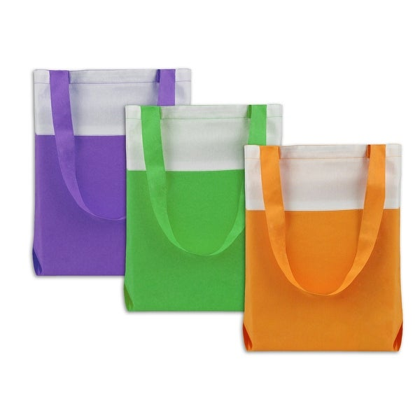 "Set of 3 Vibrantly Colored Modern Styled Fashionable Tote Bags 15.5"" - N/A"