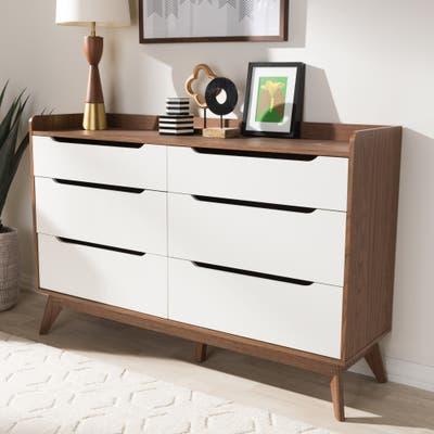 Carson Carrington Borlange 6-drawer Mid-century White/Walnut Chest
