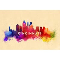 Cincinnati, OH - Skyline Abstract - LP Artwork (Cotton/Polyester Chef's Apron)
