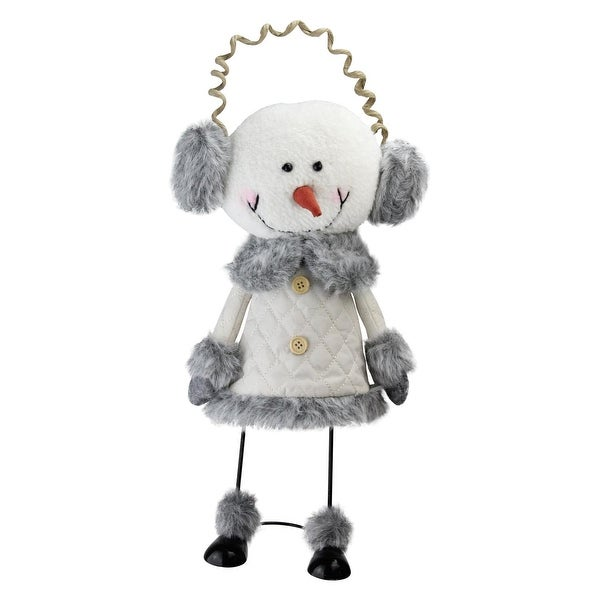 """15.5"""" Winter White and Smokey Gray Decorative Snowman with Ear Muffs Figurine"""