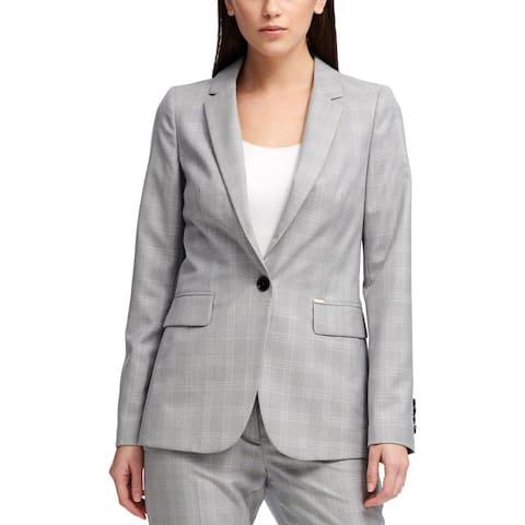 DKNY Womens One-Button Blazer Plaid Business