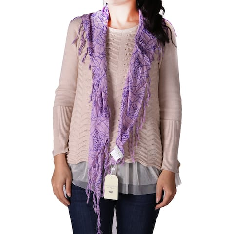 Richie House Women's Purple Geometric Leaves on Lavender Triangular Scarf - Standard