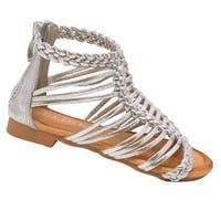 Little Girls Silver Braided Strap Zipper Back Open Toe Sandals