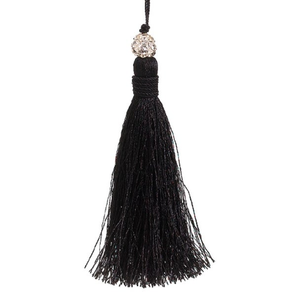 "4.5"" Jeweled Black Tassel Christmas Ornament"