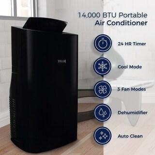 Della 14,000 BTU 4-in1 Portable Air Conditioner Heater Fan Cooling Dehumidifier Heat LED w/ Remote Control, Black