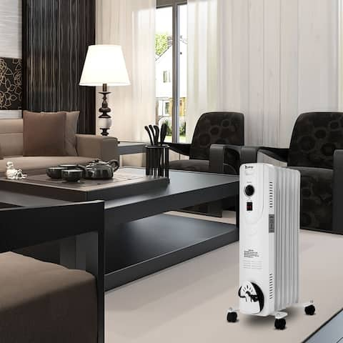 SH-37-7 1500W Oil Heater with Temperature Adjustment / White