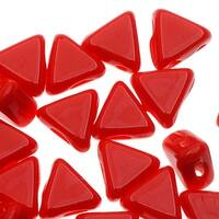 Czech Glass Kheops par Puca, 2-Hole Triangle Beads 6mm, 9 Grams, Opaque Coral Red