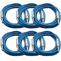 """SEISMIC AUDIO  6 PACK Blue 1/4"""" TRS 10' Patch Cables"""