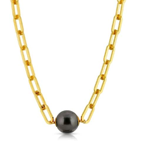 Black Tahitian South Sea 12 mm Pearl Necklace for him or her - 9' x 12'
