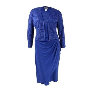 Alex Evenings Women's 2PC Satin-Trim Lace Jersey Dress Set - 14