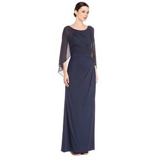 Badgley Mischka Draped Silk Cape Sleeve Evening gown Dress Navy