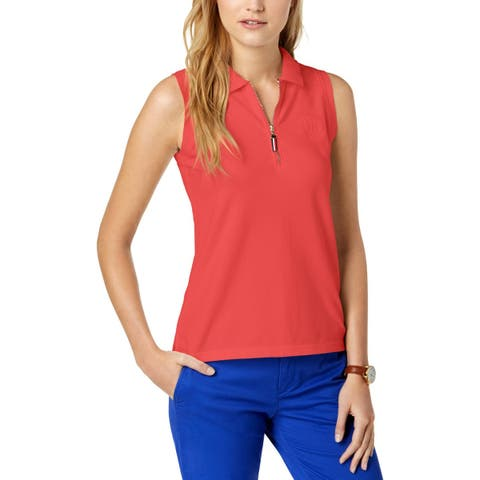 Tommy Hilfiger Womens Polo Top Sleeveless Zip-Up - XL