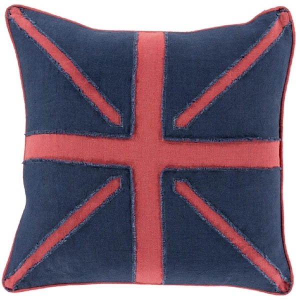 """20"""" Rose Red and Navy Blue Square Hand-Made Decorative Throw Pillow"""