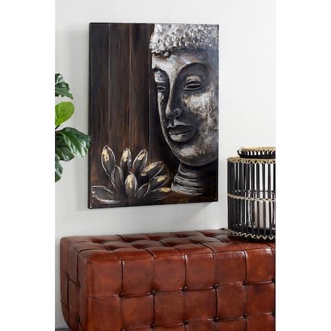 Black and Brown Lotus Buddha Painting Metallic Wall Art, 29.5 x 39.5 - 30 x 2 x 40