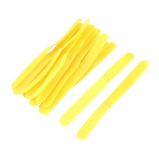 Self Adhesive Wire Luggage Fastener Hook and Loop Tape 11cm Long Yellow 12pcs