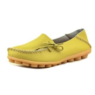Fashion Shoes Fayale Women  Moc Toe Synthetic Yellow Boat Shoe