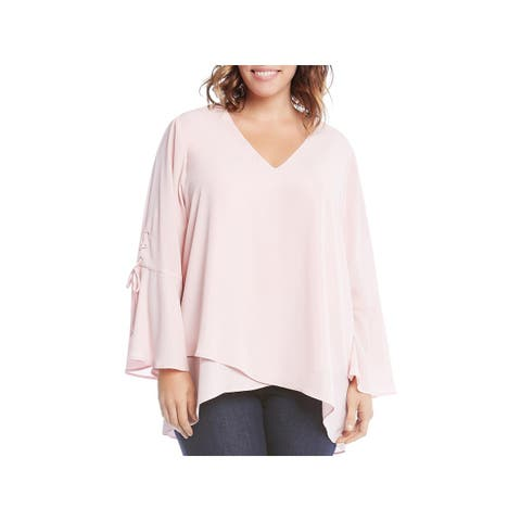 Karen Kane Womens Plus Pullover Top Lace-Up Split Sleeves