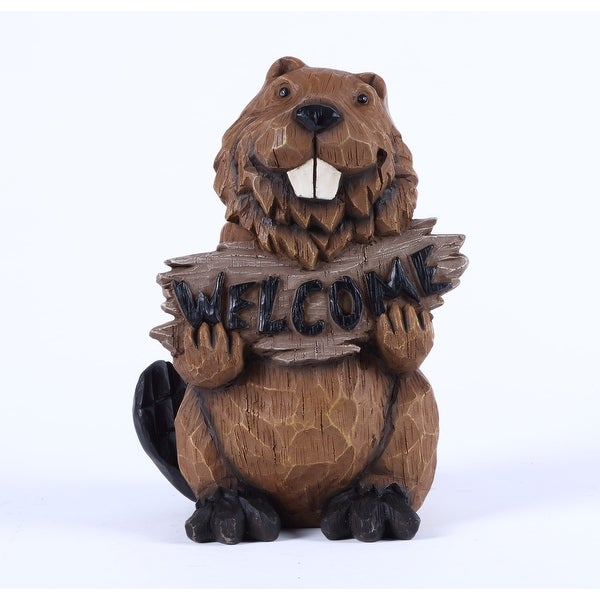"""11.75"""" Beaver Holding a """"Welcome"""" Sign Garden Statue - N/A"""
