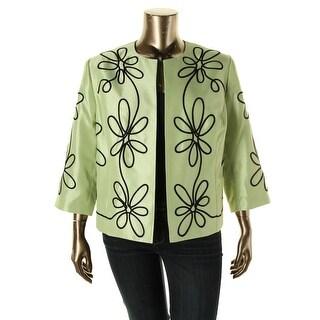 Kasper Womens Plus Shantung Embroidered Open-Front Blazer