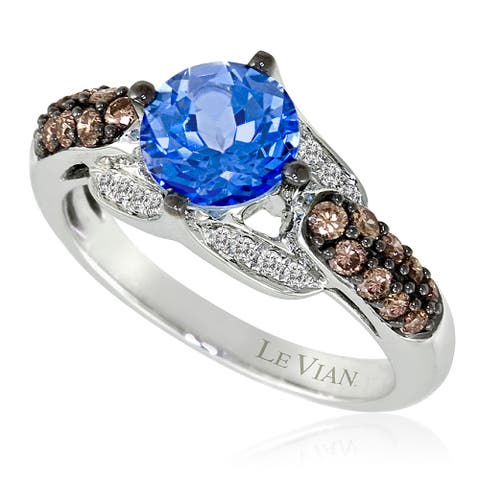Encore by Le Vian Blue Topaz & Chocolate Diamond 14K White Gold Ring Size 7