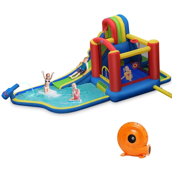 Costway Inflatable Kid Bounce House Slide Climbing Splash Pool Jumping. Opens flyout.