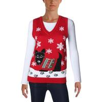 Love by Design Womens Sweater Vest Knit Graphic