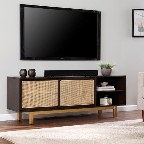 Transitional Brown Wood Media Stand
