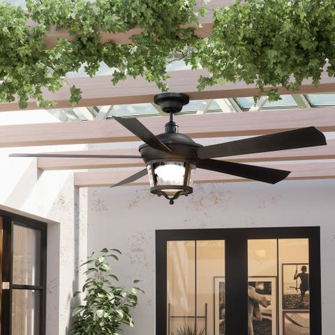 Luxury Black Iron Modern Farmhouse Indoor/Outdoor Ceiling Fan - 52 Inches