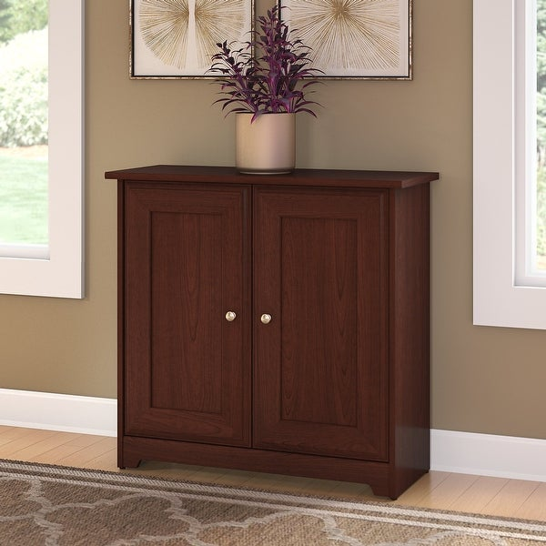 "Copper Grove Daintree Small Storage Cabinet with Doors in Cherry - 31.38""L x 12.40""W x 29.96""H. Opens flyout."