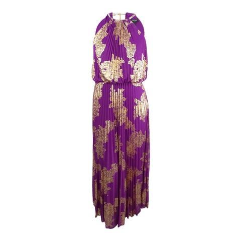 MSK Women's Plus Size Metallic-Print Pleated Blouson Gown