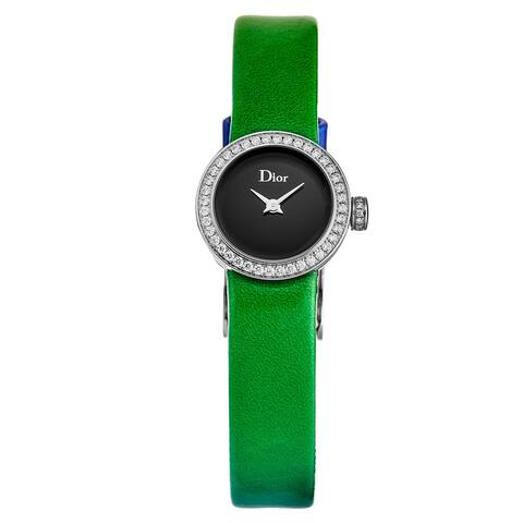 Christian dior women's cd040110a017 'la d de dior mini' black dial diamond bezel green/blue leather strap swiss quartz watch