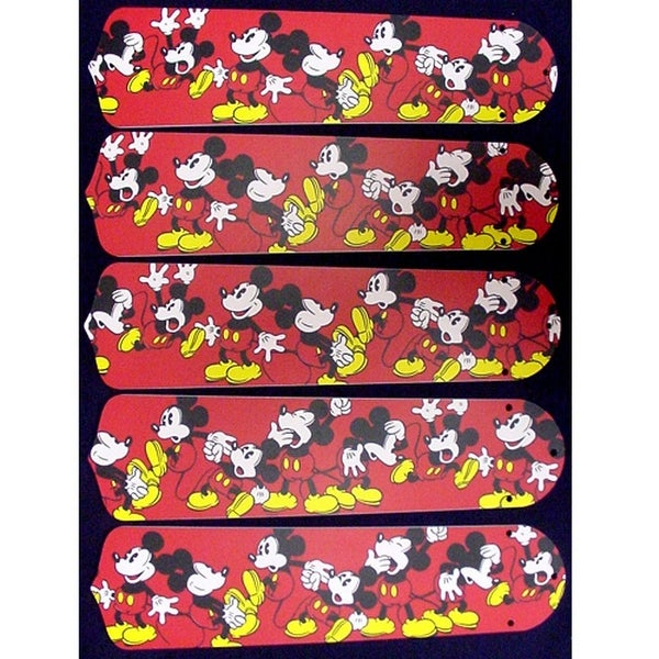 Red Mickey Mouse Custom Designer 52in Ceiling Fan Blades Set - Multi
