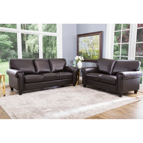 Abbyson London Brown Top-Grain Leather 2-Piece Living Room Set