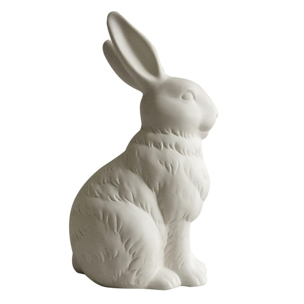 """10.5"""" White Matte Finish Bunny Rabbit Cottontail Coin Bank - N/A"""